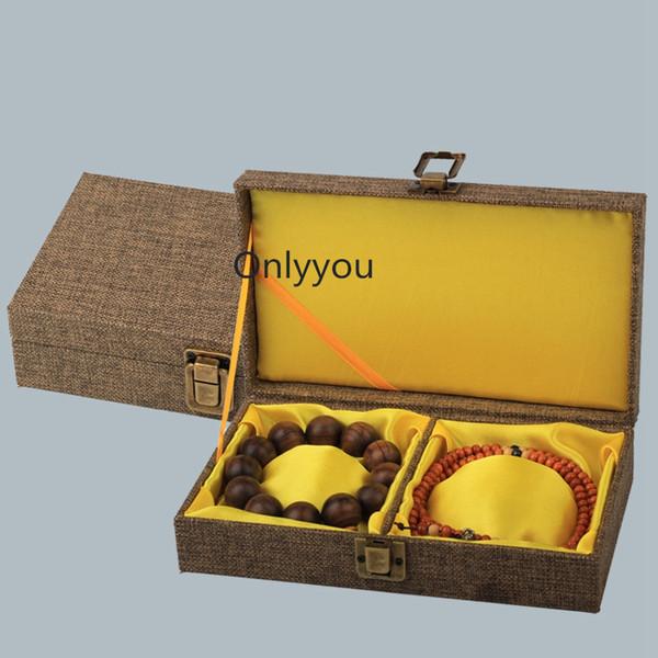 Rettangolo morbido in lino di legno scatola del braccialetto 2 scatola di immagazzinaggio del braccialetto confezione regalo di alta fascia di imballaggio gioielli 21x12x5 cm