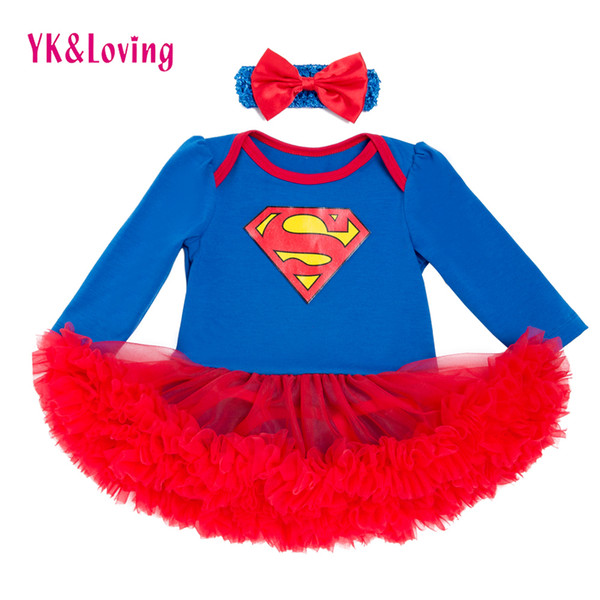 Full Sleeve Baby Girl Dress Superman Infant Girls Vestido Red Lace Ruffle Tutu Dress With Headband Lovely Newborn Bodysuit Y19050801