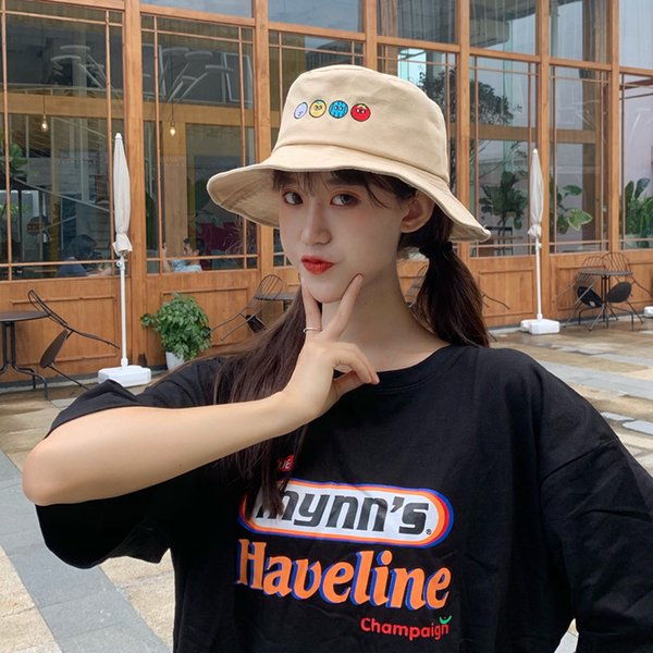 Creative New Cartoon Fruit Embroidery Fisherman Hat Female Korean Version Of Soft Younger Sister Student Pot Hat Summer UV Protection