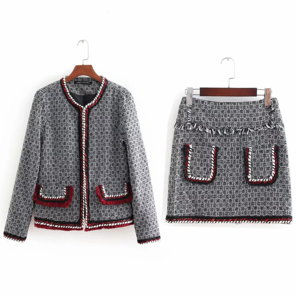 European 2019 Autumn Spring Vintage Crochet 2 Piece Set Short Jacket Women Tops Casual Coat Elegant Sexy Mini Skirt Female QH150