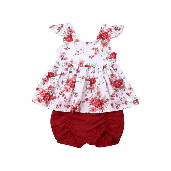 0-3Years Criança Criança Bebê Menina Roupa Floral Tops T-Shirt Calças Curtas Algodão Outfits Set