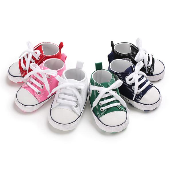 Bebek Ayakkabıları Çocuk İlk Walkers Dantel-up Kanvas Ayakkabılar Yumuşak Sole Prewalker Açık Sığ Ayakkabı Moda Kaymaz Spor Sneaker YFA931