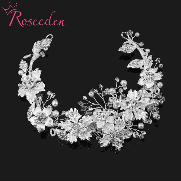 Wedding Hair accessories Exquisite Flower Leaf Headband Crystal Pearls tiara and crown handmade Bridal Headpiece jewelry RE750 D19011106