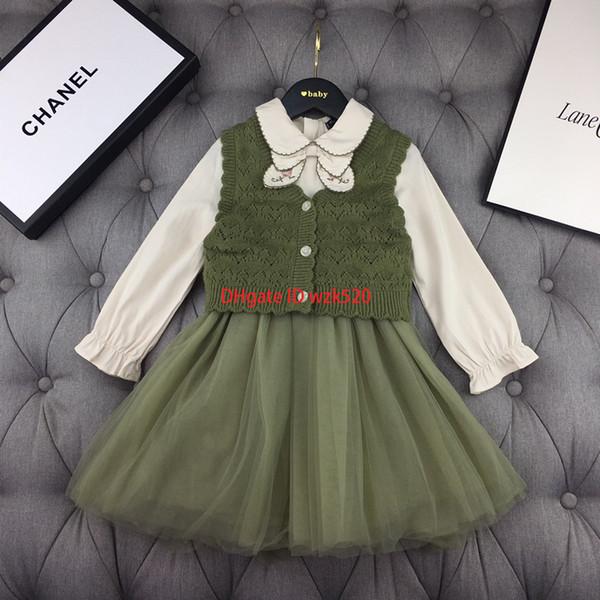 kleidet Ineinander greifen Mädchensätze Kinddesignerkleidungsbogen dress + sweater Weste 2pcs Herbst süße Windwestsätze