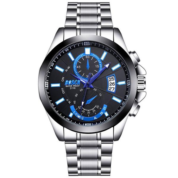 Impermeable de la moda Relojes de los hombres de la correa de acero calendario deportivo del dial grande del reloj luminoso del cuarzo del reloj luminoso manos