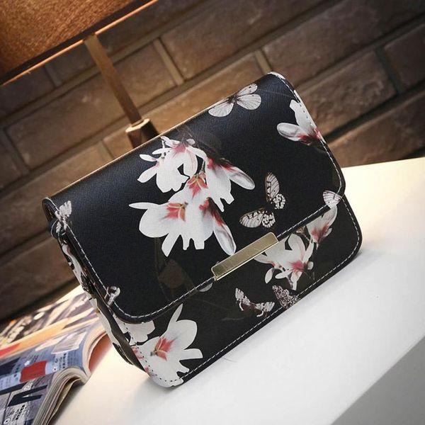Cheap Lucky Women Floral leather Shoulder Bag Satchel Handbag Retro Messenger Bag Black dollar price bags for women bolsa feminina