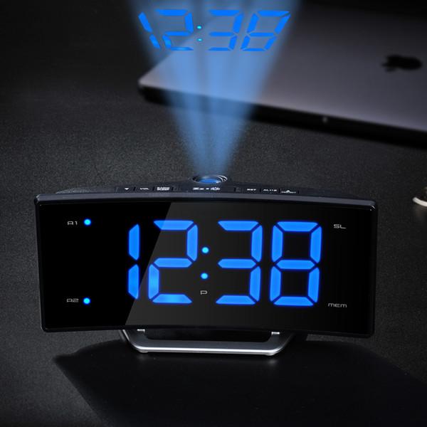 Dijital Işık Masa Saatleri Usb Şarj Fonksiyonu Radyo Projeksiyon Saat Led Ayna Ekran Elektronik