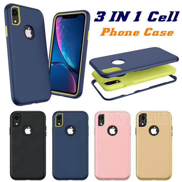 top popular 3 in 1 Armor Case For Samsung Note 10 Pro S10 Plus A20E A70 A50 A60 M30 J4 A8 2018 HUAWEI Y7 Y6 2019 P20 Lite 2019 iPhone 6.1 2019 XR XS 8 6 2019