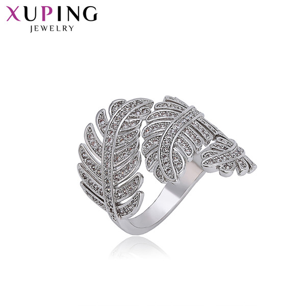 11.11 Deals Xuping Double Leaf Surround Design Rhodium Color Plated Rings Fashion Jewelry for Women Gifts S105.2-15940