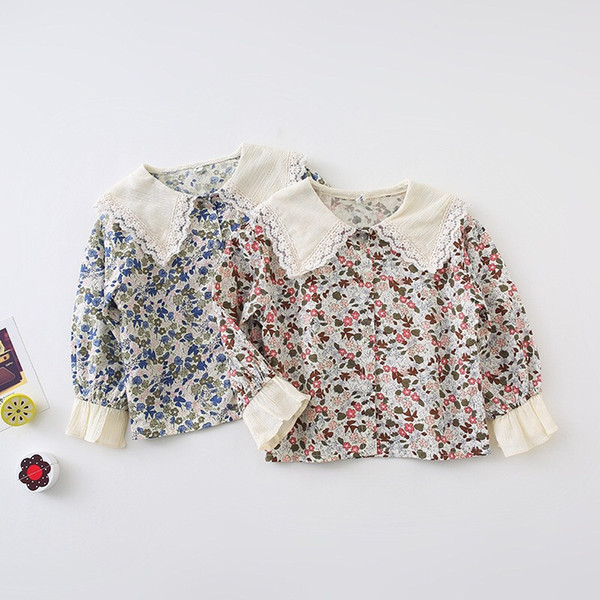 Fall New INS Little Girls Blusas Camisas Tela de algodón Bordado floral Turn-down Casual Lovely Children Princess Girls Camisas Tops