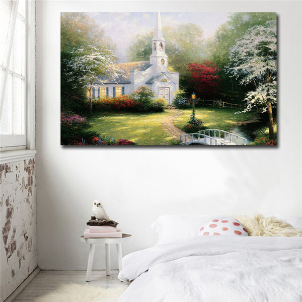 Thomas Kinkade Hometown Chapel Poster Canvas Painting Oil Framed Wall Art Print Pictures For Living Room Modern Home Decoracion Framework HD