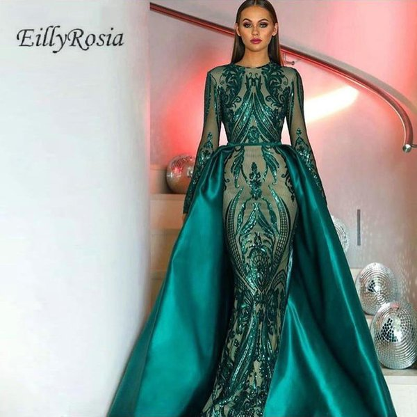 Long Sleeve Emerald Green Evening Dresses with Detachable Train Satin Sequined Lace Saudi Arabia Formal Evening Gowns Dubai Women