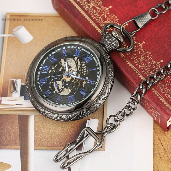 Vintage Fashioned Roman Numerals Display Skeleton Mechanical Hand-Winding Pocket Watch High Quality Pendant Jewelry Clock Gifts