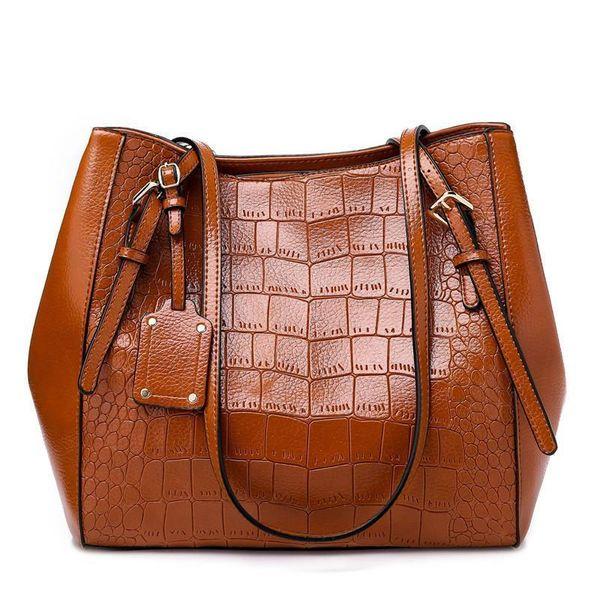 Large Women Handbag Alligator Leather Fashion Top-handle Bag Solid Color Female Big Shoulder Bags Black Red Office Lady Handbags