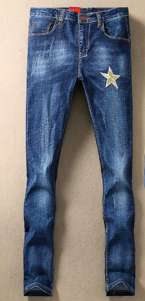 19ss designer new hot classic blue slim embroidered jeans men's casual fashion comfortable wild white feet pants