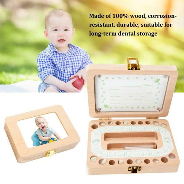 Kids Baby Tooth Wooden Storage Box Save Milk Teeth Holder Organizer Keepsake Box