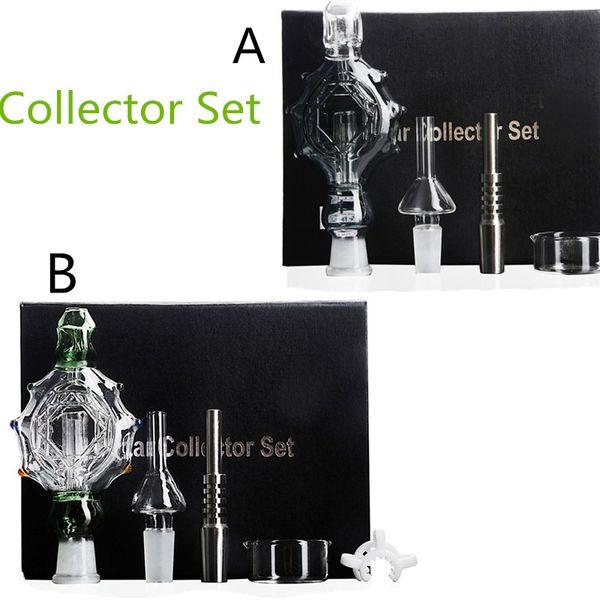 Green and Gray Nectar Collector Set Updated Honey Straw Unit Glass Dish Quartz Nail Titanium Nail Glass Bong Free Shipping