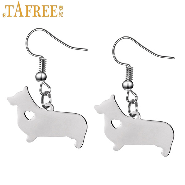 TAFREE super cute corgi puppy dog pendant women dangle earrings Germany Dachshund sausagedog drop earring 2018 new jewelry SKU09