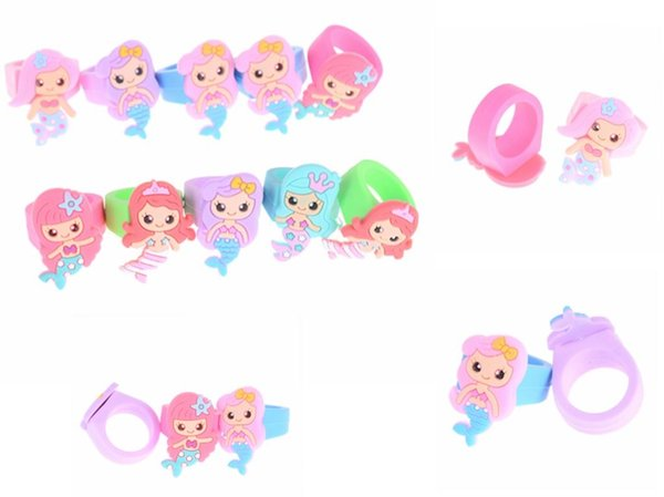 Silicone Rings Soft PVC Red Pink Blue Cartoon Mermaid Ring For Girls Kids Promotional Gifts Unicorn Children Finger Toy