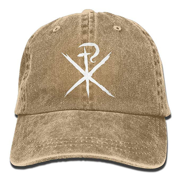 2019 New Wholesale Baseball Caps Mens Cotton Washed Twill Baseball Cap ChiRho The First Two Letters of The Greek Word Christ Hat