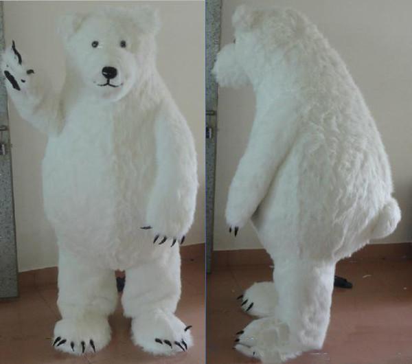 Professional custom Lovely furry polar bear Mascot Costume Cartoon fat white bear Character Clothes Christmas Halloween Party Fancy Dress