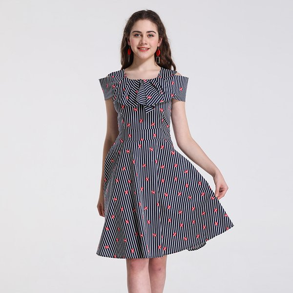 S 4XL Plus Size Spring New Dresses Of Women,Retro Style Striped And Mouth  Printed Skirts,Casual Dress Leisure Velvet Dress Knee Length Dresses From  ...