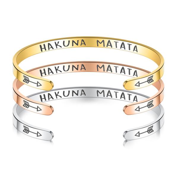 Titane Acier HAKUNA MATATA Bracelet Or Rose Or Argent Bracelets lettres Inspirational Bracelets couple Créateur de bijoux Femmes Bracelets
