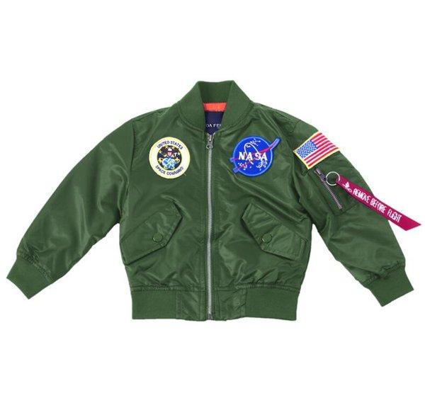 NASA Designer Jackets Outerwear MA1 Flight Pilot Bomber Jacket kids Windbreaker Baseball Wintercoat boy Jacket Veste enfants Size 2T-10T