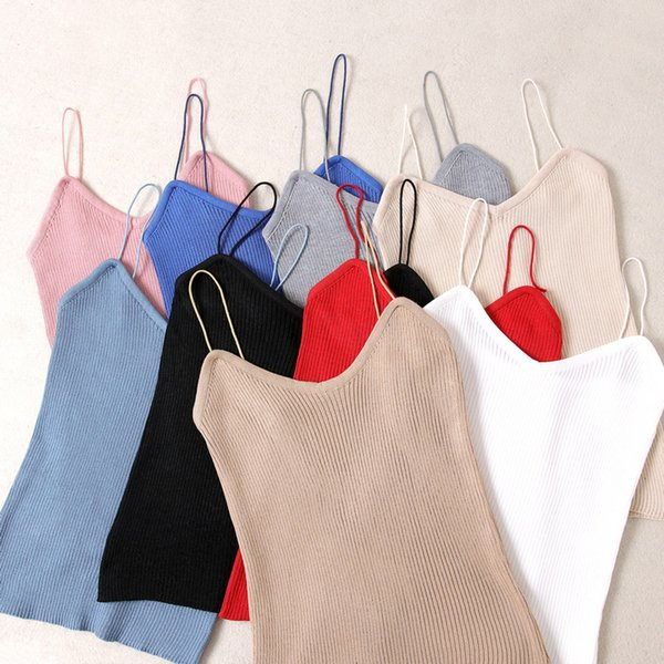Summer 2019 knitted suspender vest European and American women's self-cultivation vertical stripe knitted bottom sweater sexy close-fitting