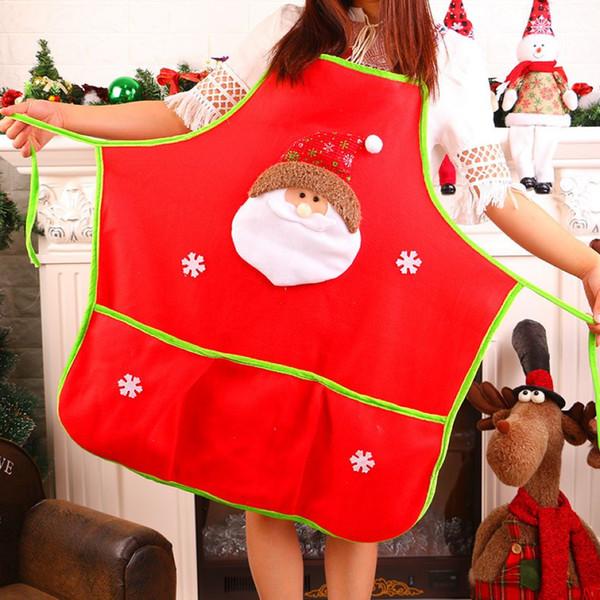 Weihnachten Kochen Backschürze Weihnachtstag Restaurant Arbeitskleidung Weihnachtsmann Ölbeständige Schürze 1 Stück ePacket