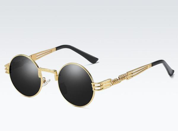 2617b085a Óculos De Sol polarizados Rodada Vidano Óptico De Metal Steampunk Homens  Mulheres Moda Óculos de Marca Designer de Óculos De Sol Do Vintage Retro  UV400