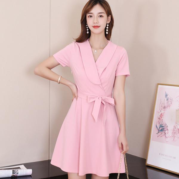 2019 Fashion Korean Women Pink Dress Summer Casual Short Sleeve Lace Up Dress Elegant Women Streetwear Ladies Dresses Vestidos Maxi Dress Red Dress