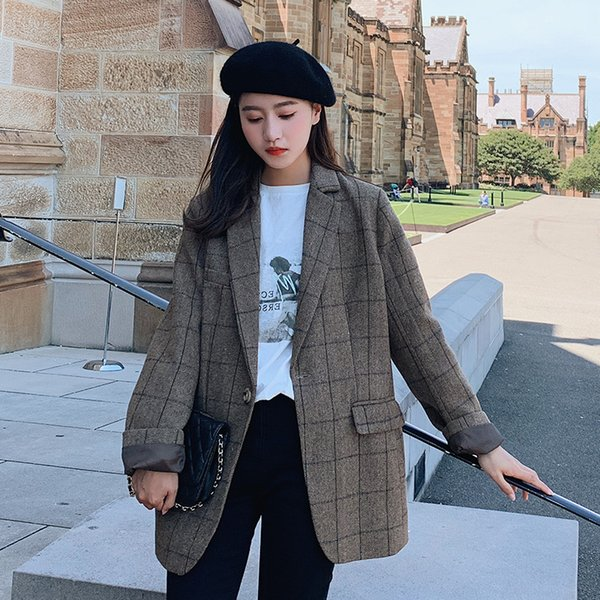 Women Blazers and Jackets Korean Loose Vintage Plaid Coat Female Fashion Office Lady Bussiness Casual Blazer Outerwear