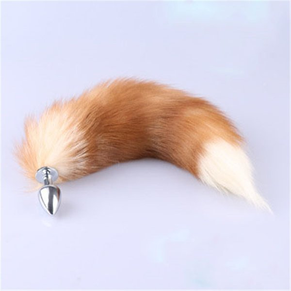 Genuine Real Fox Fur Tail Metal Stainless Butt Toy Plug Insert Anal Sexy Stopper