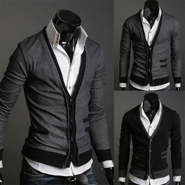 2019 Hot Dark Gray/Black Men fashion simple cotton Fake pocket zipper man imported wool sweater cardigan coat L/XL/XXL