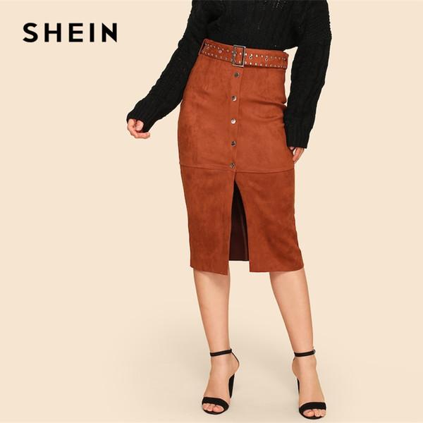 c60799cd1929ff SHEIN Vintage Rust Button Up Slit Front Suede Plain Pencil Skirt Casual  High Waist Women Skirts 2019 Summer Slim Skirt