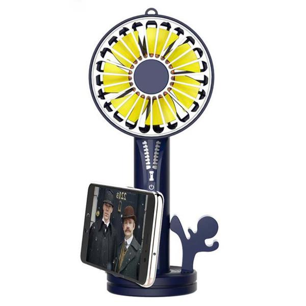 Nueva cremallera de carga Treasure Fan USB Handheld Mini Desktop Portable Mobile Power Small Fan With Mirror MOQ: 10pcs Envío gratis