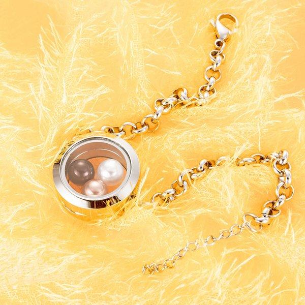 Medallón flotante pulsera más nuevo Fit 8mm perla de acero inoxidable 316L perlas de agua dulce joyería pulsera-P