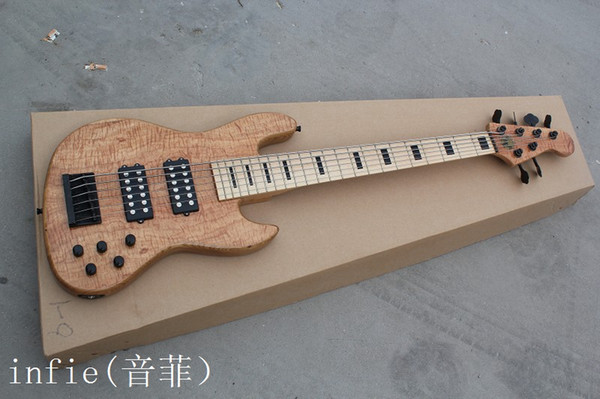 Free shipping Slim Matte six string electric bass wood color can be customized to change Electric Guitar