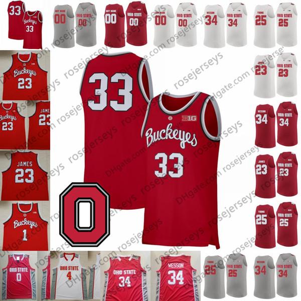 Personalizzato Ohio State Buckeyes 2020 Pallacanestro rossa di bianco grigio # Kaleb Wesson 23 James Conley Craft Russell Retro Jersey LeBron 3 DJ Carton 34