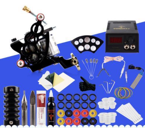 Dövme Makinesi Seti Kitleri Siyah Mürekkep Pigment Setleri Güç Kaynağı İğneler için Ucuz Acemi Malzemeleri Dövme Vücut
