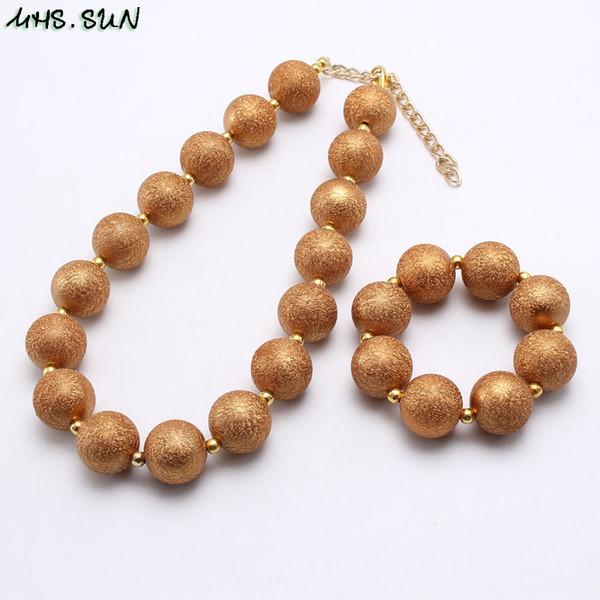 Commercio all'ingrosso oro massiccio colore argento ragazza Kid Chunky Beads NecklaceBracelet Set perla Bubblegum Chunky Beads Necklace Jewelry Set per bambini
