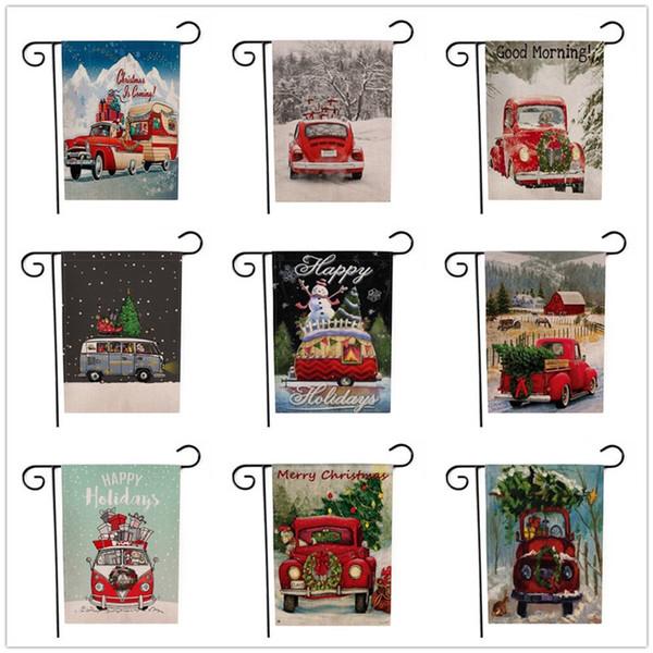 Banderas Bandera jardín de la Navidad Casa patio con camión rojo de la bandera de la vendimia por temporada al aire libre Invierno yarda del jardín de las decoraciones 9 Diseños