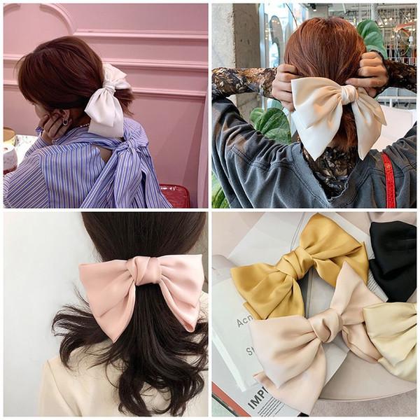 2019 material de satén Moda Mujeres Niñas Bowknot grande de pelo suave Barrettes elegantes pinzas de pelo de calidad de la vendimia en color sólido Estilo