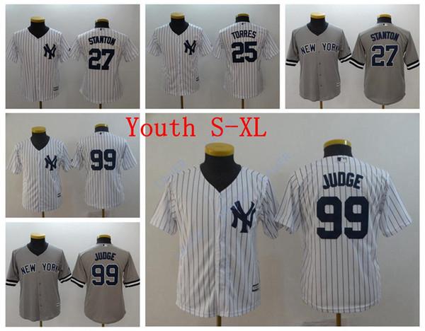 Jóvenes de Nueva York 99 Aaron Judge Jerseys de los Yankees Niño 27 Giancarlo Stanton 25 Gleyber Torres cosidas camisetas de béisbol