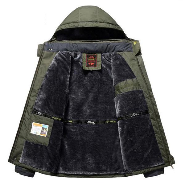 Velo do inverno Caminhadas Jaquetas Homens À Prova de Vento À Prova D 'Água Outwear Parka Mens Blusão do Exército Casaco de Chuva Do Exército Sobretudo