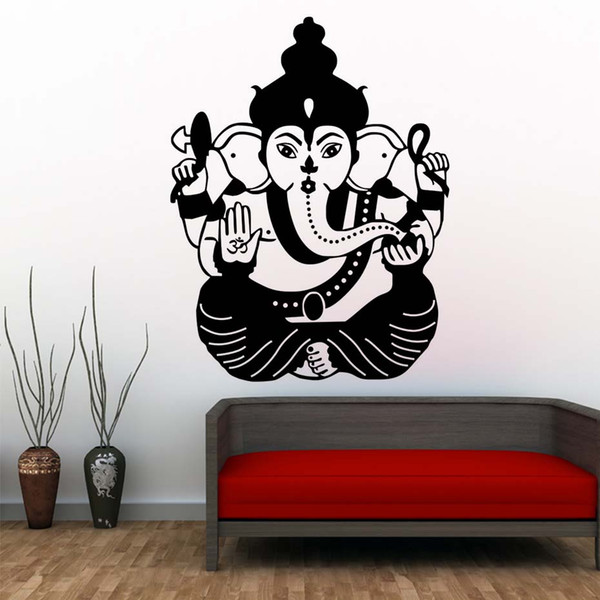 1 Pcs Ganesha Indian Elephant Lord Wall Stickers Home Decor Living Room Wall Decals Vinyl Art Murals Silhouette Bedroom Decoration