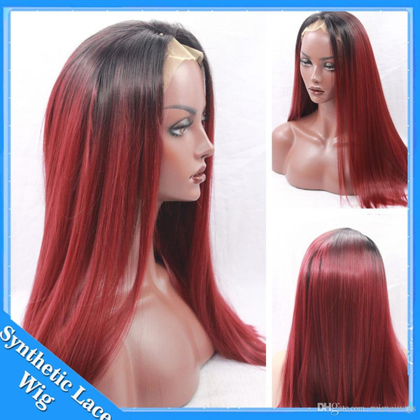 Ombre Burgundy Red 99J Synthetic Red Lace Front Wig Silky Straight Ombre Wigs Dark Roots Wine Bug Wigs Heat Resistant Fiber Hair