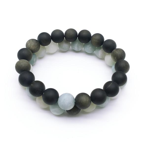 10 mm mat Obsidian Aquamarine perles, bracelet élastique, pierres précieuses perles Bracelet, Cadeaux