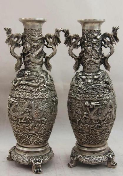 China White Copper Silver Feng Shui God animal Dragon Play Bead Pot Vase Pair